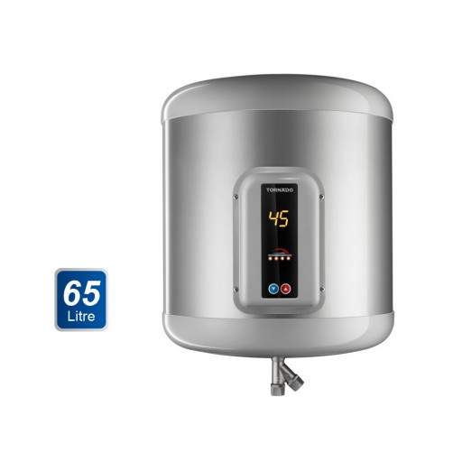 سخان مياه تورنيدو كهرباء 65 لتر لون سيلفر مزود بشاشة ديجيتال EHA-65TSD-S