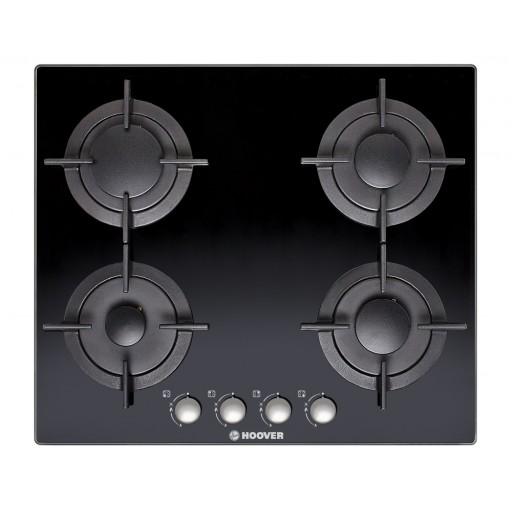 بوتاجاز هوفر مسطح بلت إن 60 × 60 سم 4 شعلة غاز لون أسود زجاجي مزود بأمان كامل للشعلات HGV64SCB