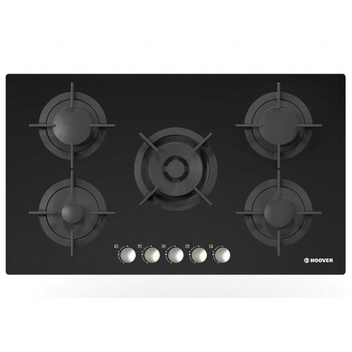بوتاجاز هوفر مسطح بلت إن 90 × 60 سم 5 شعلة غاز لون أسود زجاجي مزود بأمان كامل للشعلات HGV95SMWCGB