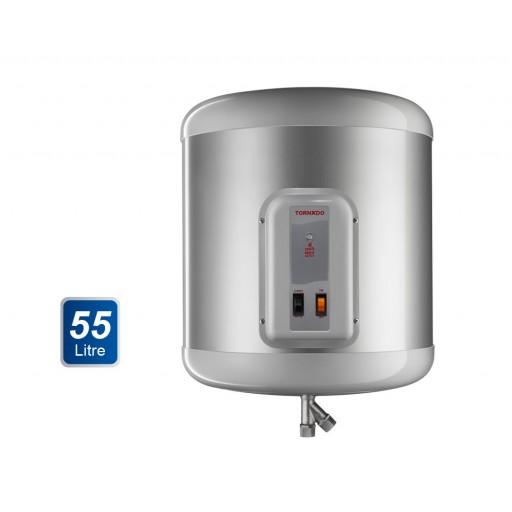 سخان مياه تورنيدو كهرباء 55 لتر لون سيلفر مزود بلمبة إل إي دي كمؤشر لدرجة الحرارة EHA-55TSM-S