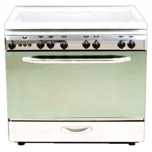 موقد غاز للطبخ من كريازي ، 5 عيون ، مقاس 80 * 60 ، فضي ، KGC-8600SMFs